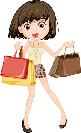ladies shopping: illustration of a girl on a white background