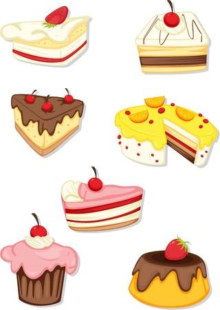 strawberry cake: illustration of a food on a white background Illustration