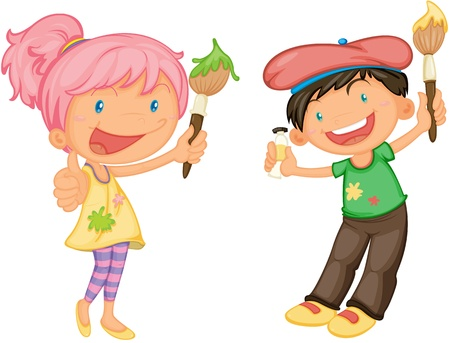 children painting: illustration of a kids on a white background Stock Photo