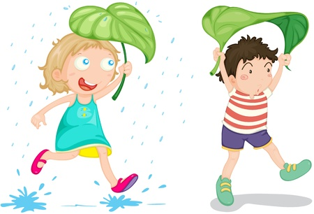 raining: illustration of a kids on a white background Stock Photo