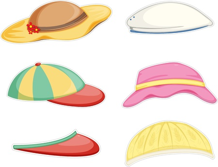 convocation: illustration of a hats on a white background Illustration