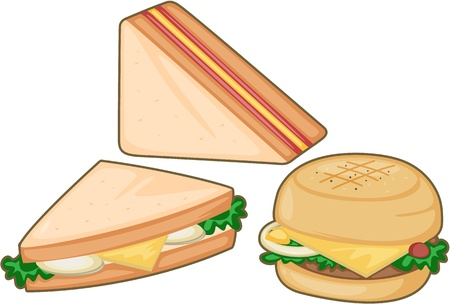 sandwiches: illustration of a food on a white background Illustration