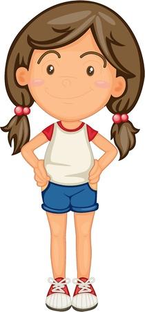 ragazza: illustrazione di una ragazza su uno sfondo bianco Vettoriali