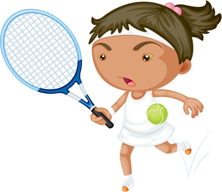 racket: Illustration of A Girl Playing Tennis on white background Illustration