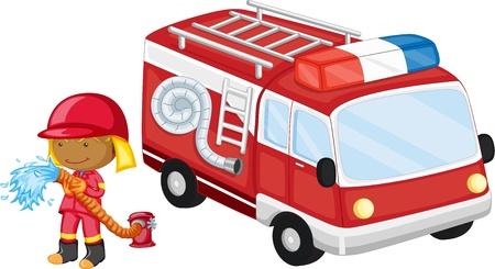 emergency vehicle: illustrazione del combattente di fuoco su uno sfondo bianco