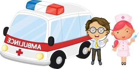 скорая помощь: Иллюстрация врача и медсестры на белом фоне Иллюстрация