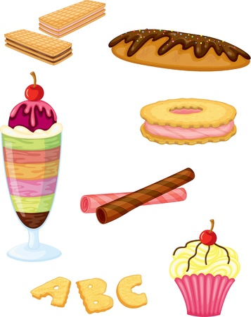 wafers: illustration of a food on a white background Illustration