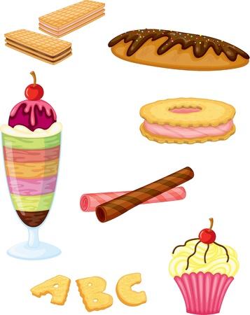 wafer: illustrazione di un alimento su uno sfondo bianco Vettoriali