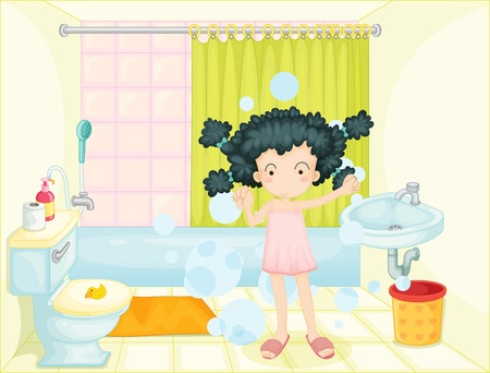 Illustration of a young girl in bathroom