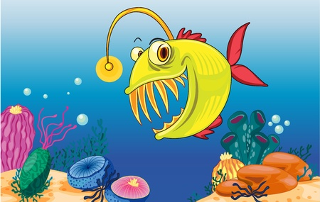 underwater fishes: Illustration of an angler fish and coral Illustration