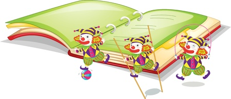 stilts: Illustration of 3 clowns in front of a book