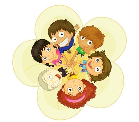 Illustratie van de groep van 6 kinderen Vector Illustratie