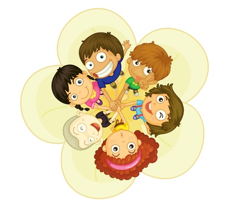 mixed family: Illustration of group of 6 kids