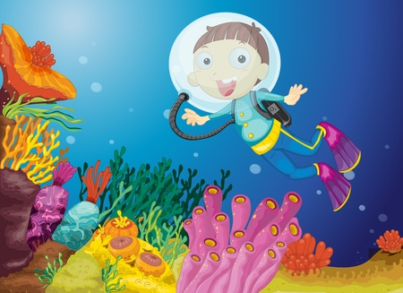 undersea: Illustration of boy scuba diving