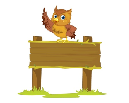 Illustration of an owl on a blank sign Vector