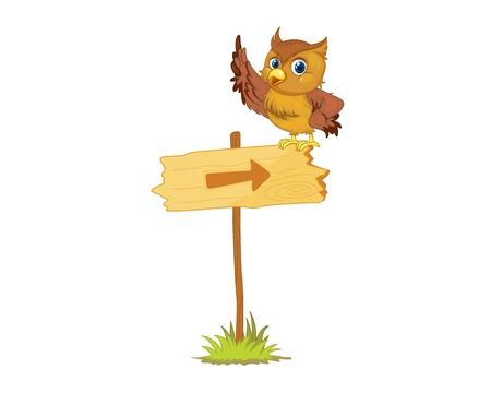 Illustration of an owl on a sign Vector