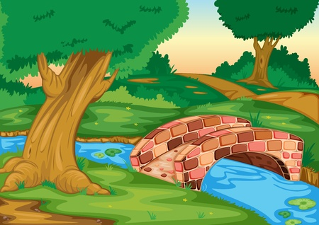 flowing river: Illustration of a stone bridge