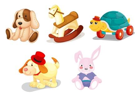 five people: Illustration of a set of toys Illustration