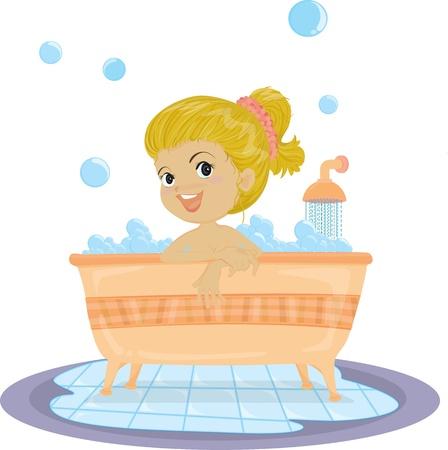 personas banandose: Ilustración de una chica que toma el baño en el fondo blanco