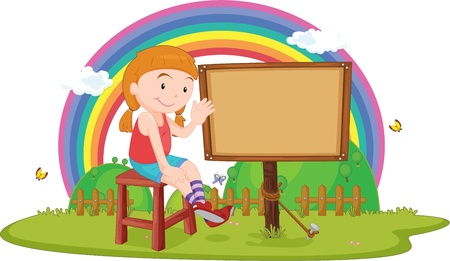 drawing table: Illustration of A Girl sitting near a blank board on white background
