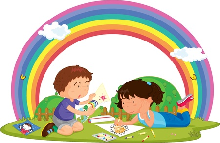 Illustration of Boy & Girl Painting in Lawn on colorful background Vector