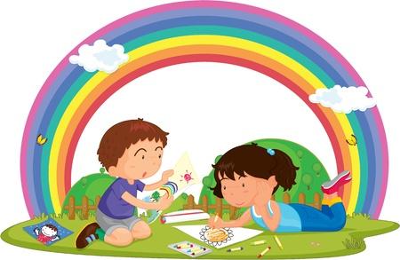 arcoiris caricatura: Ilustraci�n del Ni�o Ni�a y Pintura en el c�sped sobre un fondo colorido