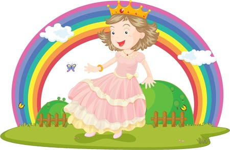 Illustration of A Girl With Crown Overhead on colorful background Vector