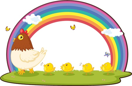 cartoon rainbow: Illustration of A Hen With Chicks on white background