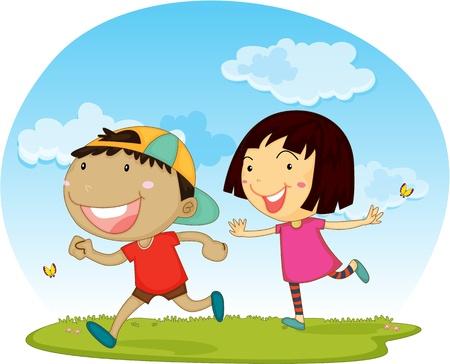 niño y niña: Ilustración de Chico y Chica en el fondo blanco