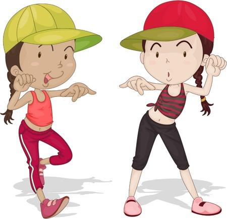 tanzen cartoon: Illustration von zwei tanzende M�dchen auf wei�em Hintergrund Illustration