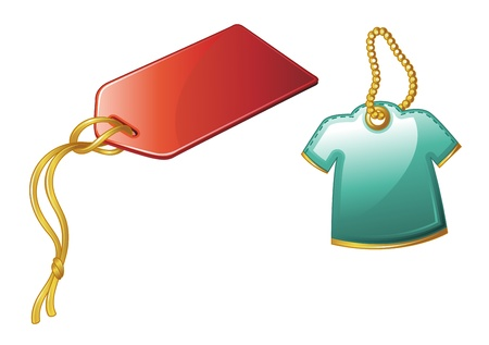 hang tag: Illustration of price tags on white