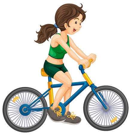 outdoor fitness: Illustration of girl cycling white background Illustration