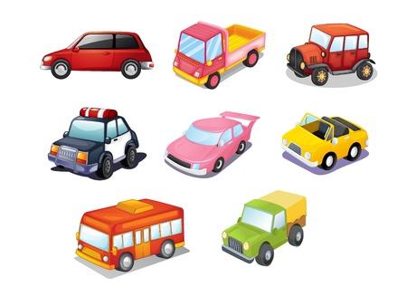 transportation cartoon: Illustration of cars isolated on white