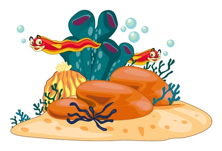 Illustration of underwater scene Vector