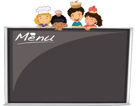 blackboard cartoon: Illustration of blank menu on white Illustration