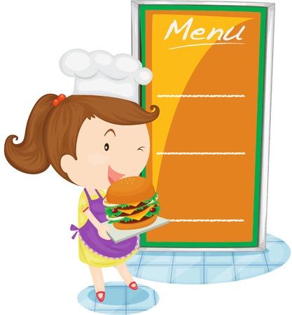 cartoon menu: Illustration of blank menu on white Illustration