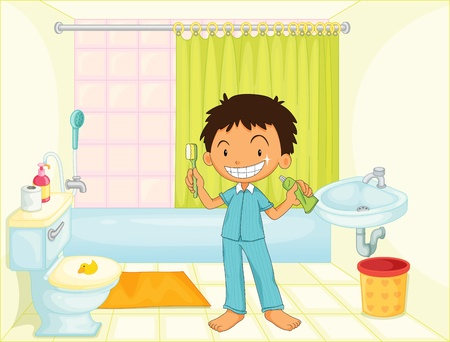ванная комната: Ребенок в ванной комнате изображение иллюстрация