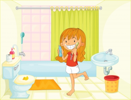 cleanliness: Child in bathroom illustration image