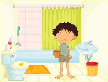 Child in bathroom illustration image Vector