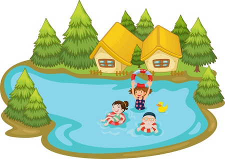 Kids swimming at vacation house Çizim