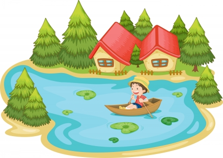 fishing lake: Illustration of a man in a boat at vacation house