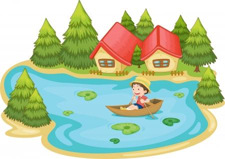 pirag�ismo: Ilustraci�n de un hombre en un bote en la casa de vacaciones Vectores