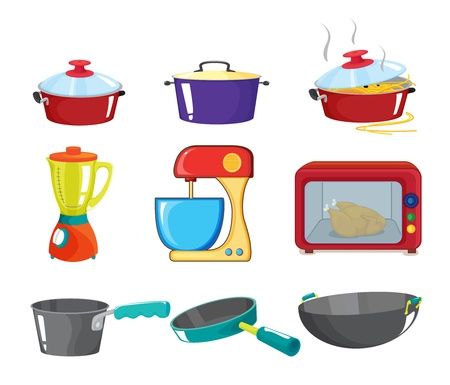 kitchen appliances: Illustration of various kitchen appliances
