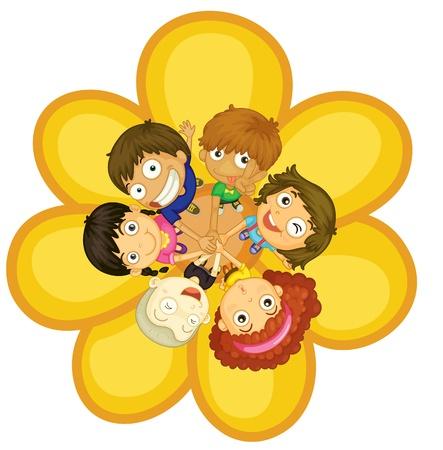 Firendship círculo con los niños pequeños Ilustración de vector