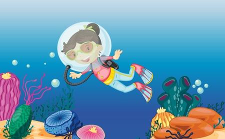 tropical tank: Illustration of an underwater scene