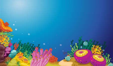 algen: Illustratie van een onderwater scene