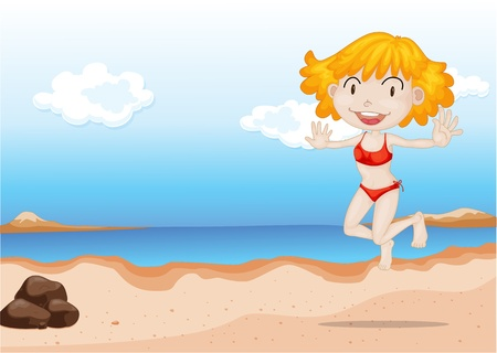 Illustration of A Girl Dancing on Beach on colorful background Vector