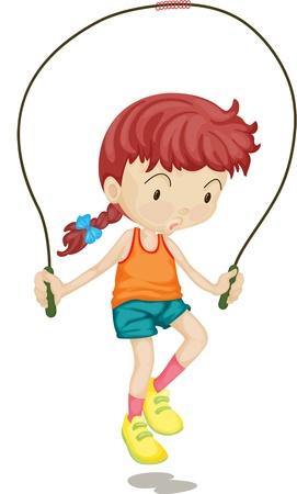 skipping: Illustration of A Girl on white background Illustration