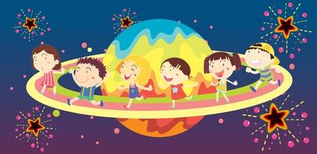 tanzen cartoon: Die Vielfalt der Kinder, die Spa�