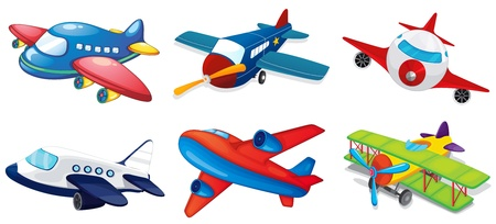 jumbo: Illustration of various airplanes on white Illustration